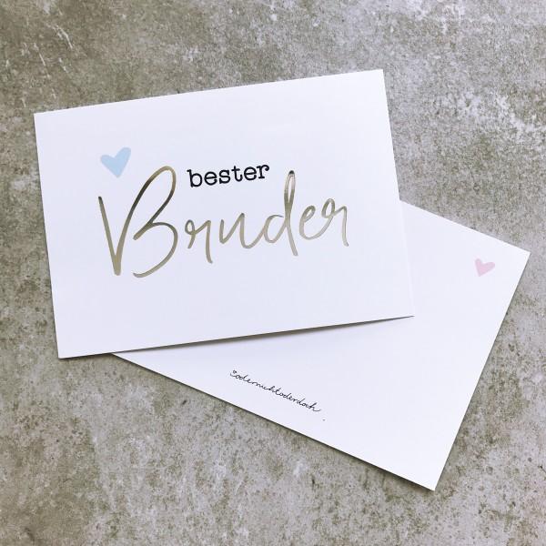 "Glitzer Postkarte ""Bester Bruder"""