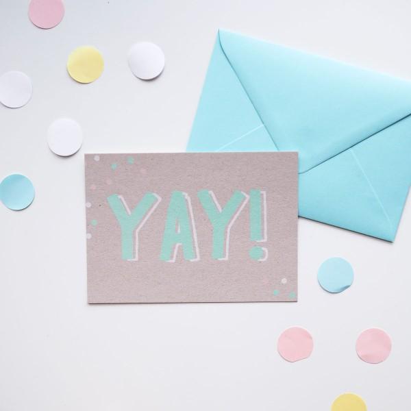 YAY! - Postkarte mit Umschlag