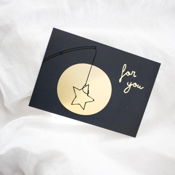 "Glitzer Postkarte ""for you"""