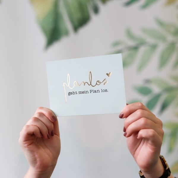 "Glitzer Postkarte ""Planlos"""