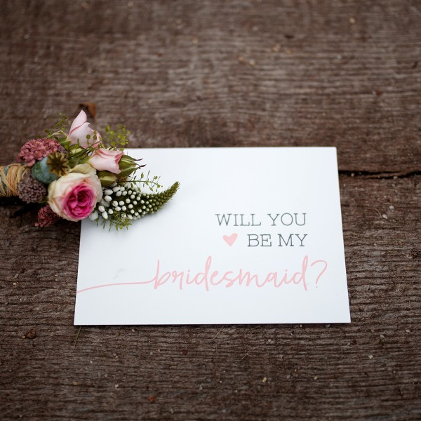 """Letterpress-Postkarte """"Will you be my bridesmaid?"""" mit Umschlag"""