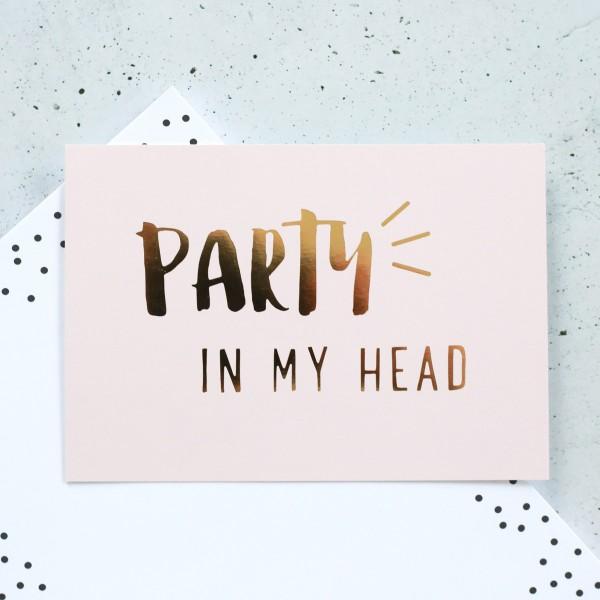 """Glitzer Postkarte """"Party in my head"""""""