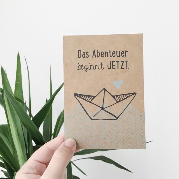 """Postkarte Kraftpapier """"Das Abenteuer beginnt jetzt"""""""