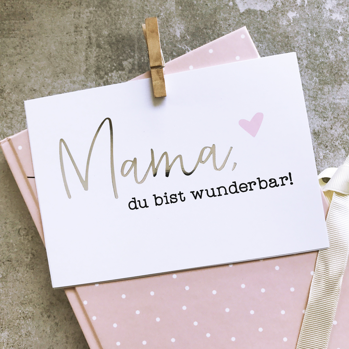 glitzer postkarte mama du bist wunderbar. Black Bedroom Furniture Sets. Home Design Ideas