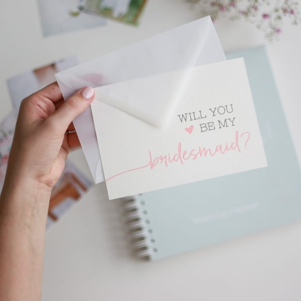 "Letterpress-Postkarte ""Will you be my bridesmaid?"" mit Umschlag"