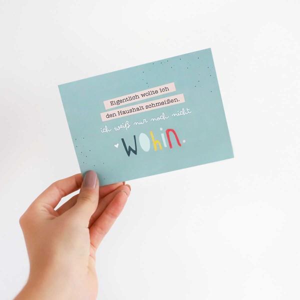 """Postkarte """"Haushalt schmeißen"""""""