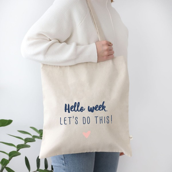 "Jutebeutel ""Hello week"""