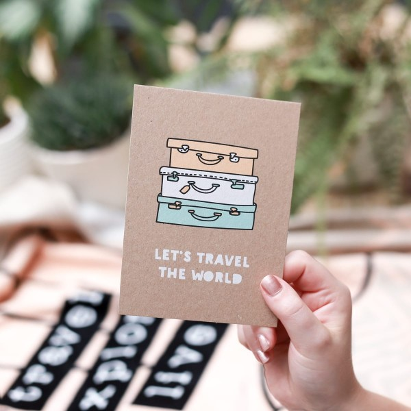 "Postkarte Kraftpapier ""Let`s travel the world"""