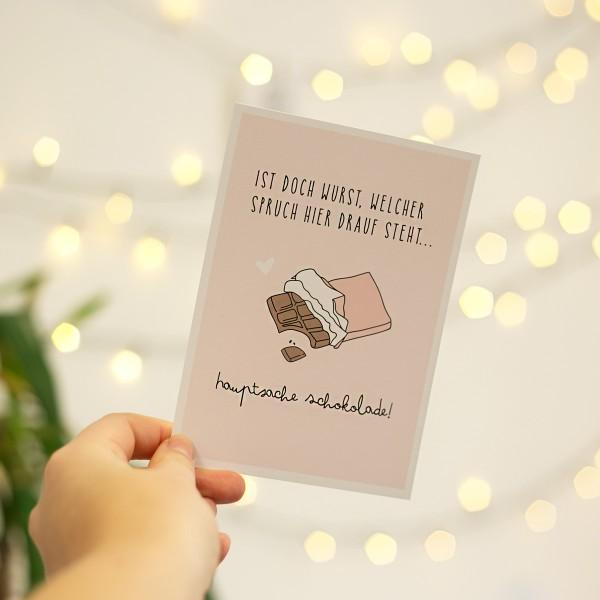 """Postkarte """"Hauptsache Schokolade"""""""