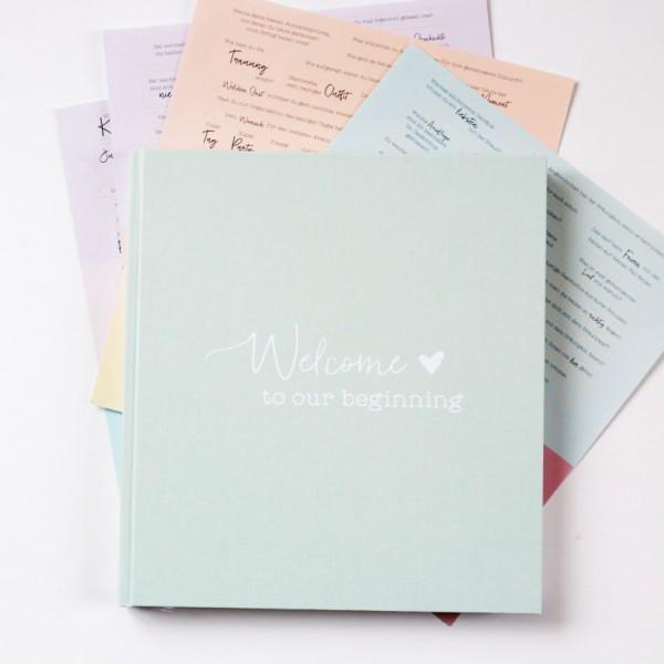 """Hochzeits-Gästebuch """"Welcome to our beginning"""" mit Stickerbögen"""