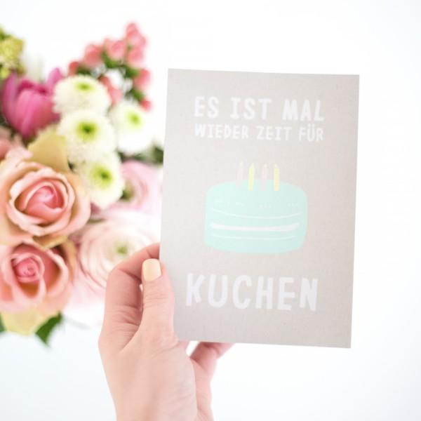 Es ist mal wieder Zeit für Kuchen - Postkarte mit Umschlag
