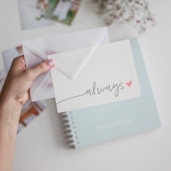 """Letterpress-Postkarte """"Always"""" mit Umschlag"""
