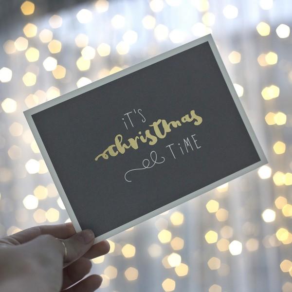 "Postkarte ""It`s christmas time"" mit Umschlag"