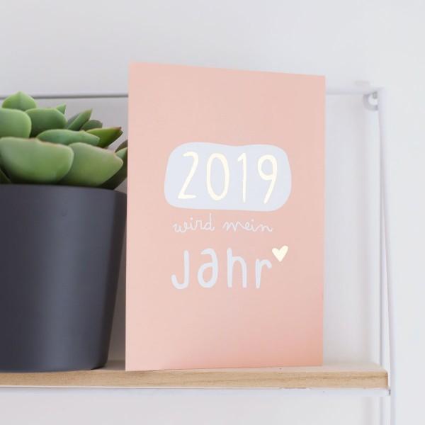 """Glitzer Postkarte """"2019 wird mein Jahr"""""""