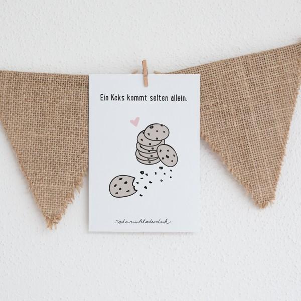 """Postkarte """"Ein Keks kommt selten allein"""""""