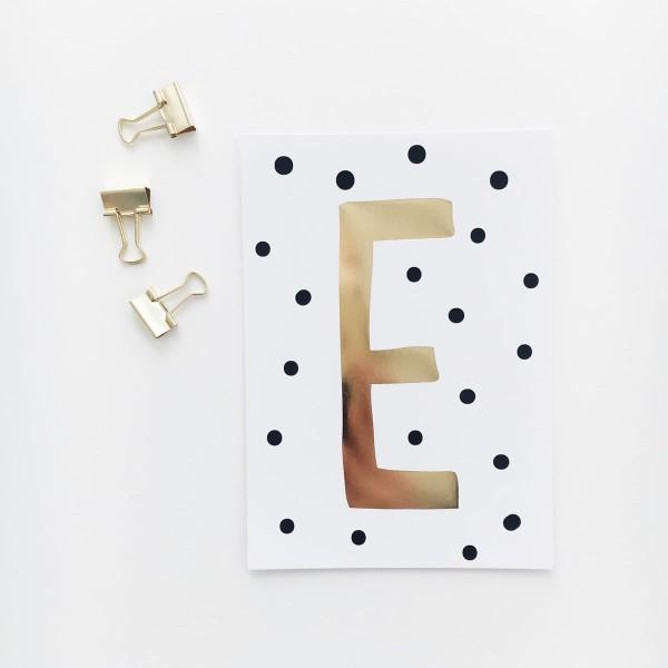"""Glitzer Postkarte """"E"""""""