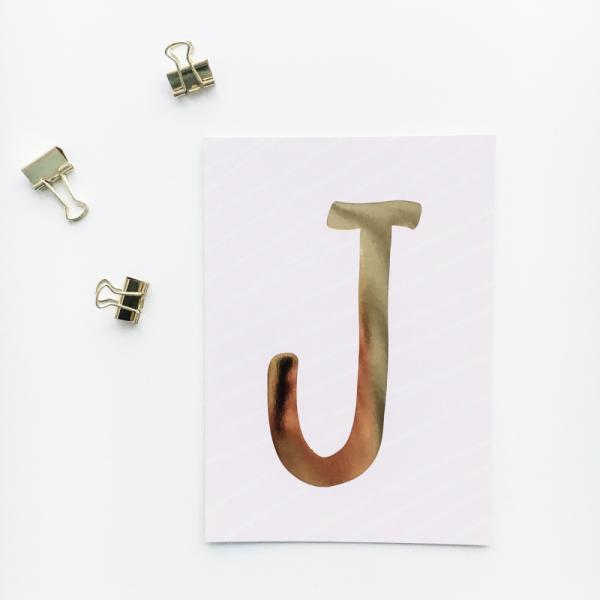 """Glitzer Postkarte """"J"""""""