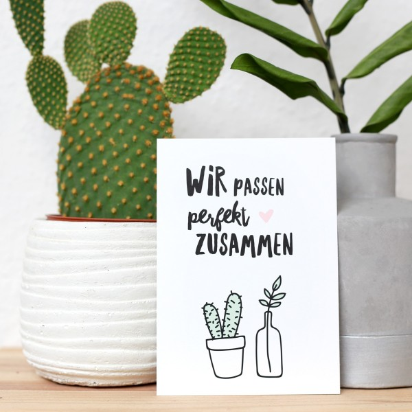 """Postkarte """"Wir passen perfekt zusammen"""""""
