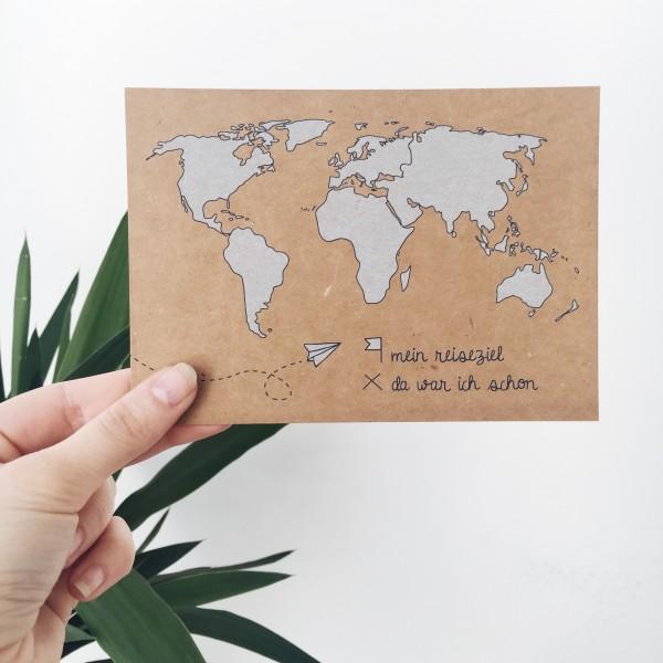 """Postkarte Kraftpapier """"Weltkarte"""""""
