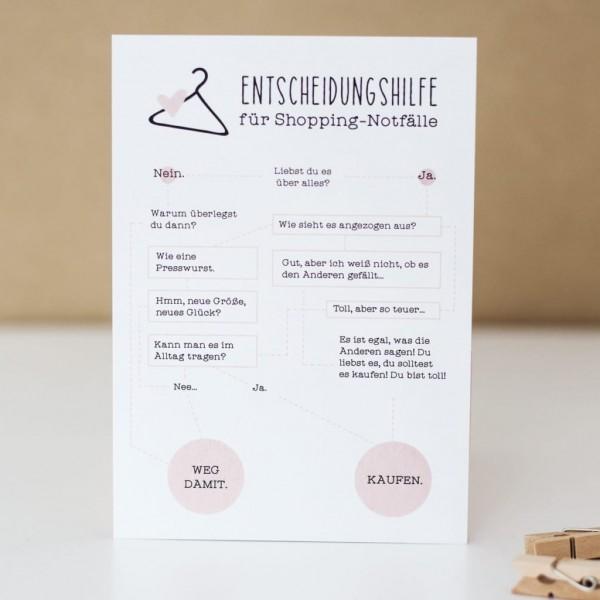 """Postkarte """"Entscheidungshilfe für Shopping-Notfälle"""""""