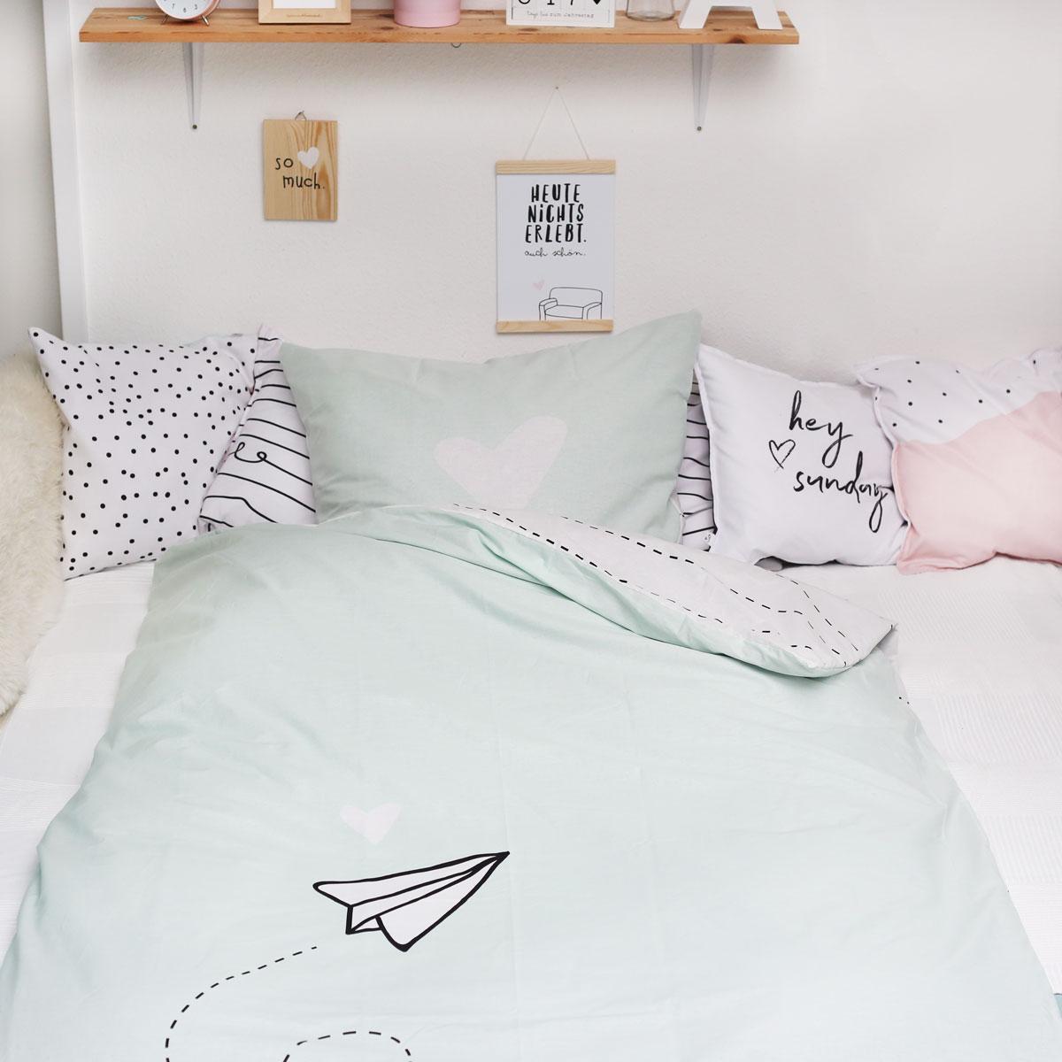 bettw sche mint papierflieger 2 tlg wendbar 135 x. Black Bedroom Furniture Sets. Home Design Ideas