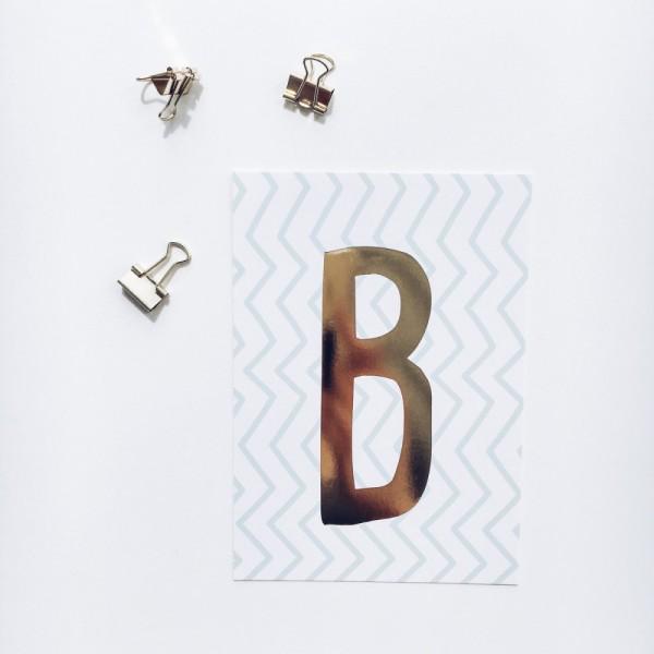 """Glitzer Postkarte """"B"""""""