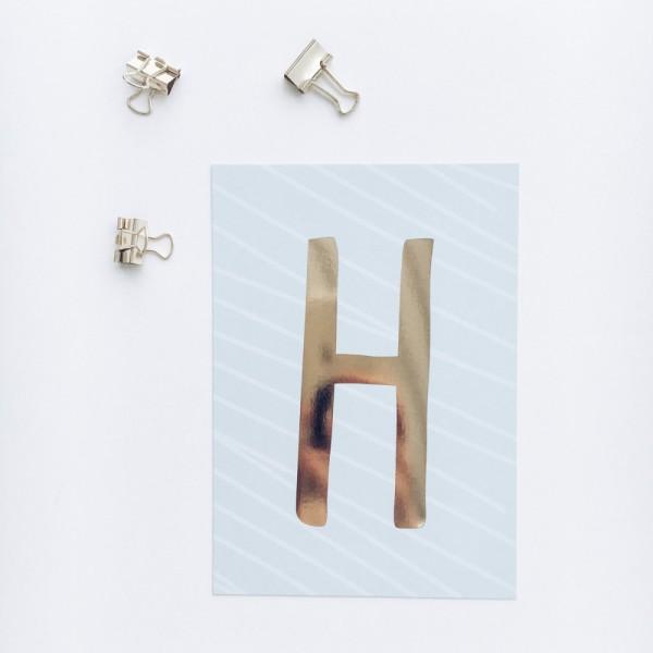 """Glitzer Postkarte """"H"""""""