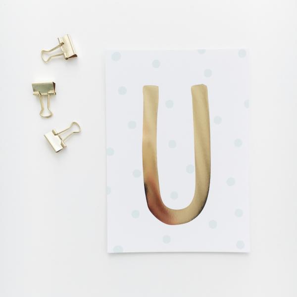 """Glitzer Postkarte """"U"""""""