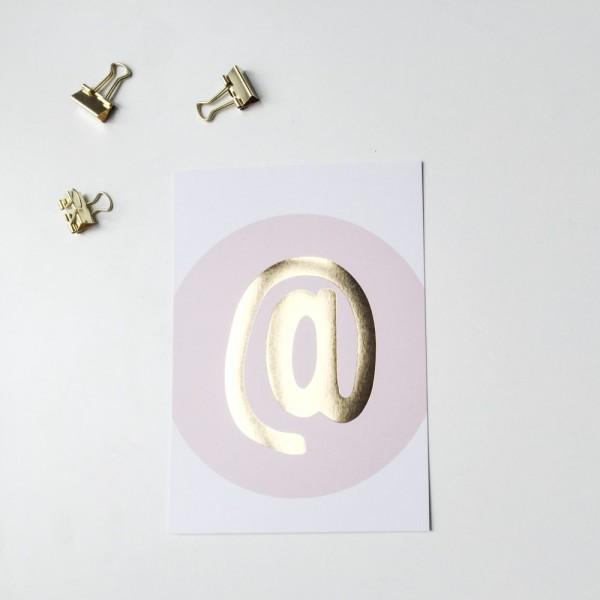 """Glitzer Postkarte """"@"""""""