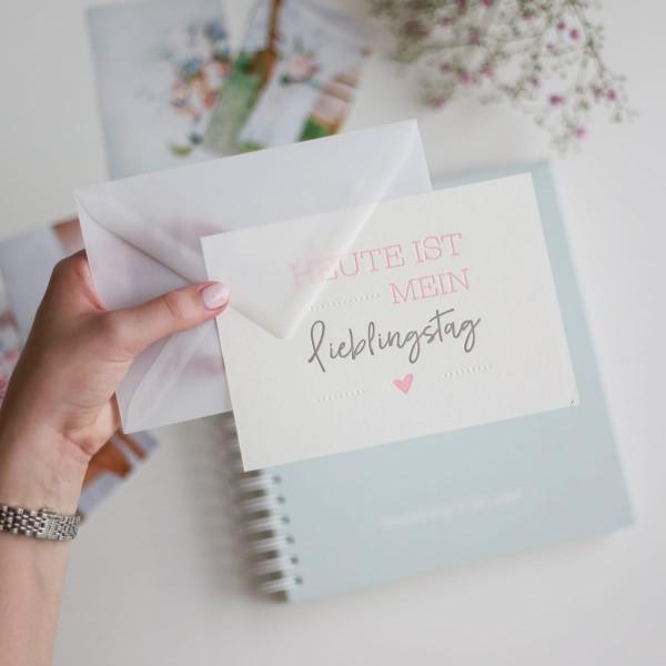"""Letterpress-Postkarte """"Heute ist mein Lieblingstag"""" mit Umschlag"""