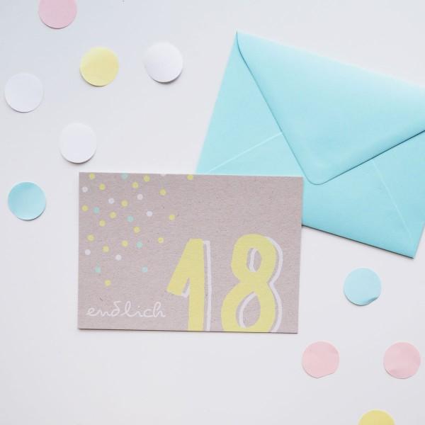 Endlich 18 - Postkarte mit Umschlag