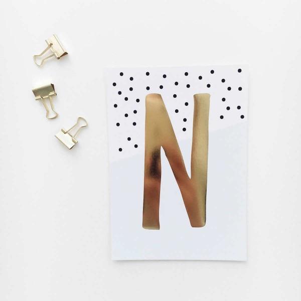 """Glitzer Postkarte """"N"""""""