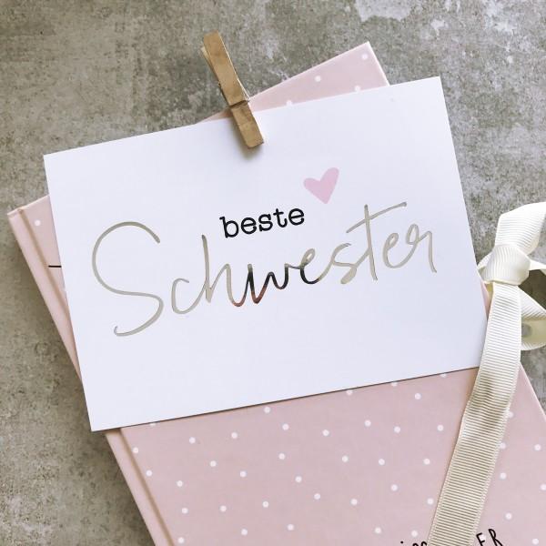 """Glitzer Postkarte """"Beste Schwester"""""""