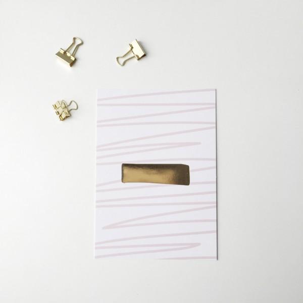 """Glitzer Postkarte """"Minus"""""""