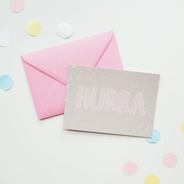 Hurra - Postkarte mit Umschlag