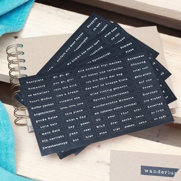4er Set Stickerbögen fürs Reisetagebuch
