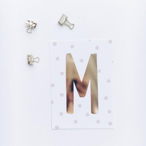 """Glitzer Postkarte """"M"""""""