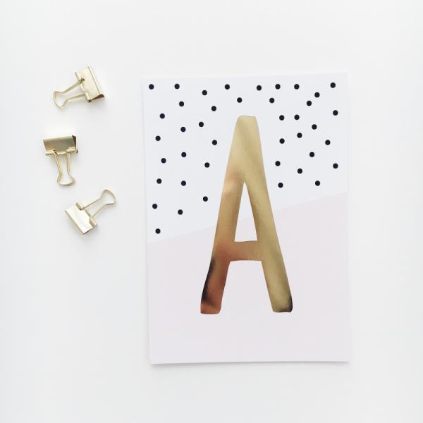 """Glitzer Postkarte """"A"""""""