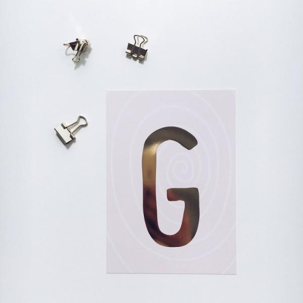 """Glitzer Postkarte """"G"""""""