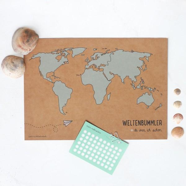 "Poster A3 ""Weltkarte"" inkl. Klebepunkte"