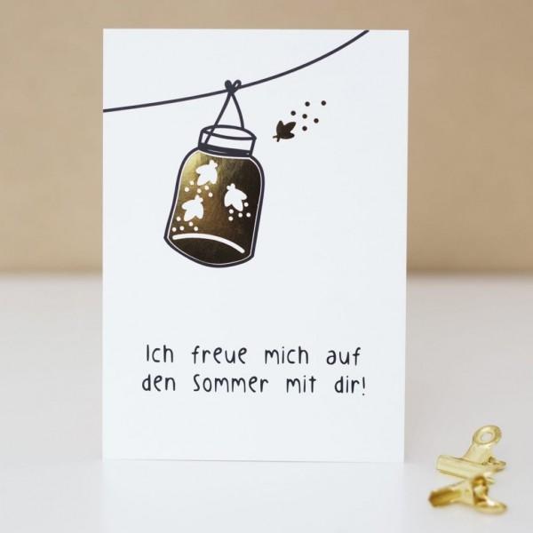"""Glitzer Postkarte """"Ich freue mich auf den Sommer mit dir"""""""